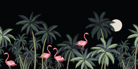 Fototapeta Liście Tropical night vintage wild birds flamingo, palm tree and moon floral seamless border black background. Exotic dark jungle wallpaper.