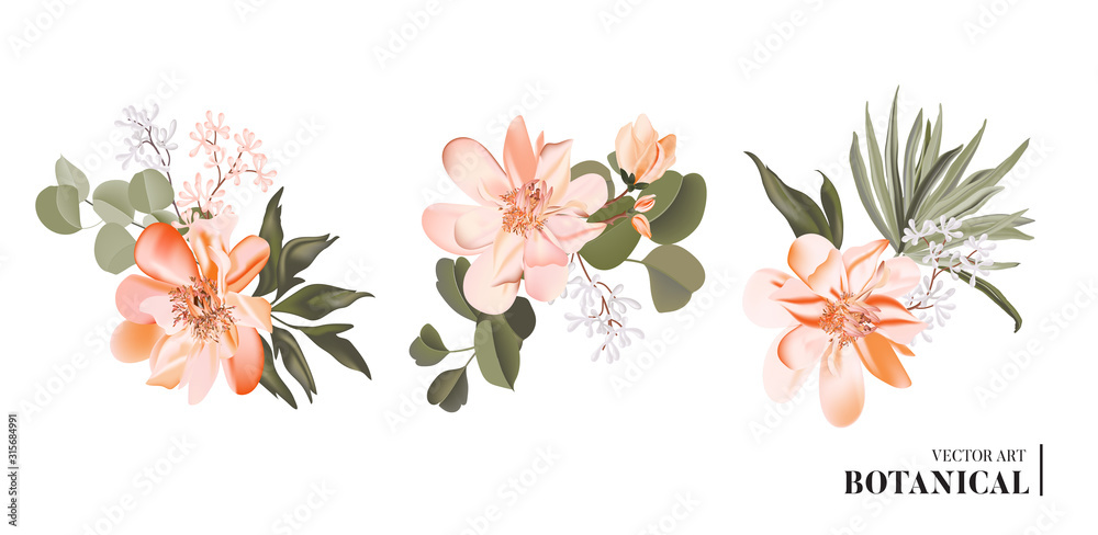 Fototapeta Vector realistic 3d floral bouquet design: garden magnolia flower  with palm leaves and eucaluptys  isolated on white. Romantic greenery rustic boho card with luxury hand drawn illustration, wedding