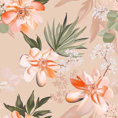 Seamless rose and eucaluphtys branch. Tropical pattern flower and greenery palm leaves realistic vector illustration , luxury boho floral print pattern. Rustic bohemian nature hawaii print