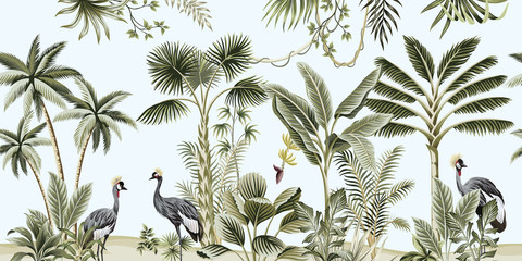Fototapeta Malarstwo Tropical vintage botanical landscape, palm tree, liana, plant, crane bird floral seamless border blue background. Exotic green jungle animal wallpaper.