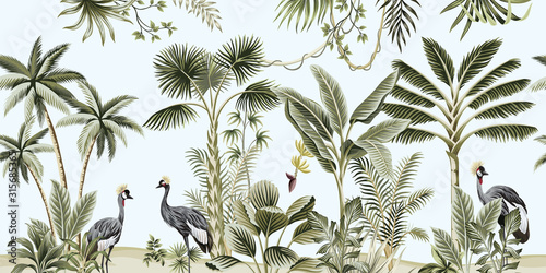 Tropical vintage botanical landscape, palm tree, liana, plant, crane bird floral seamless border blue background Wallpaper Mural