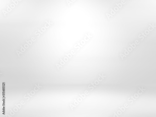 Obraz Gray white gradient empty studio room backdrop wallpaper abstract background blurred. use for showcase or product your. copy space for text - fototapety do salonu