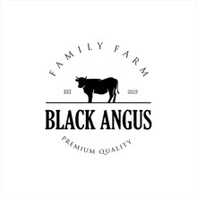 Retro Vintage Cattle Angus Beef Emblem Label Logo Design Vector, Angus Cow Logo, Cattle Farm Logo Angus Cow Farm, Beef Cattle ,Aberdeen Angus, Cow Logo Vintage