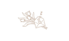 Vector Line Art Bouquet Of Tul...