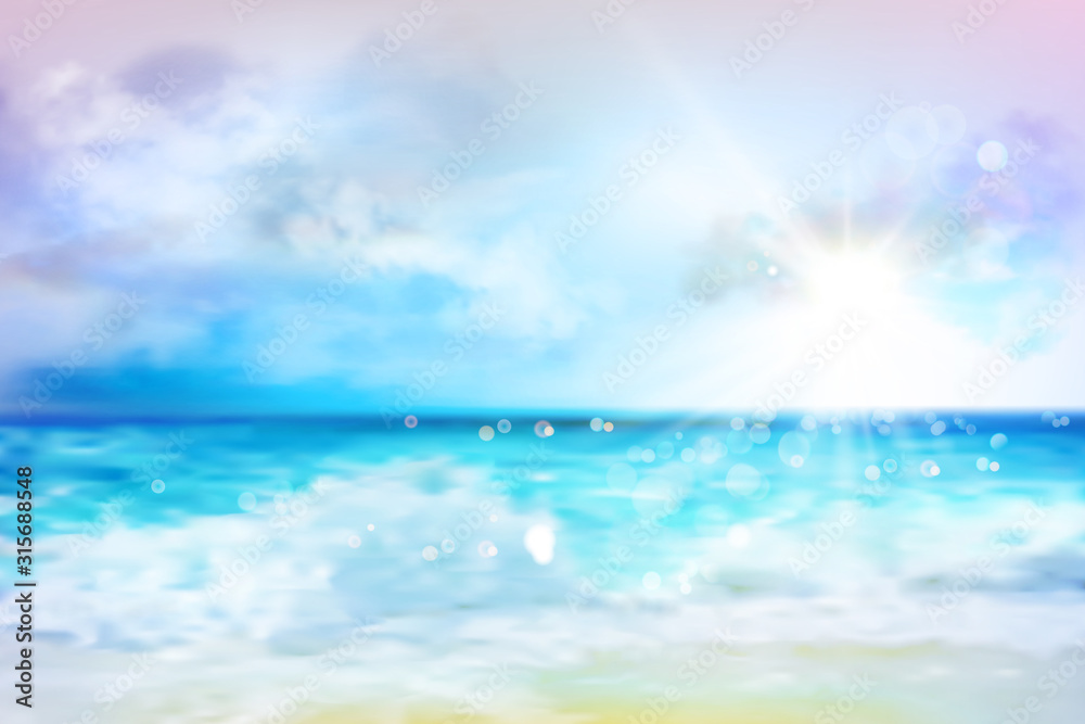Fototapeta Sky with clouds over the ocean. Empty sandy beach in summer. Waves on the seashore. Sunrise. Abstract vector illustration.
