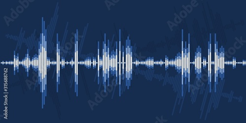 Audio sound wave graphics Canvas Print