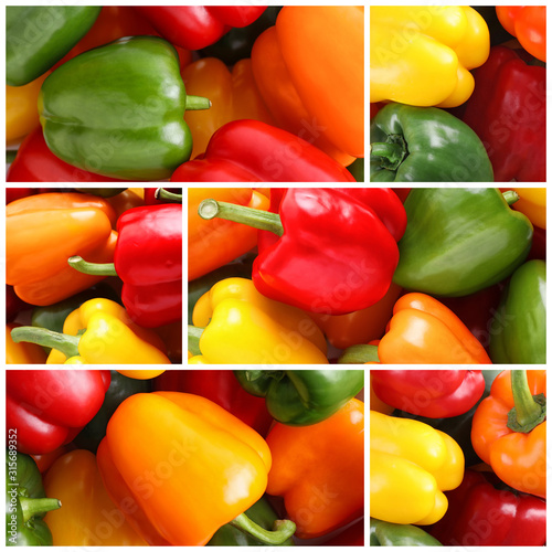 Fotografie, Obraz  Collage with different ripe bell peppers, closeup