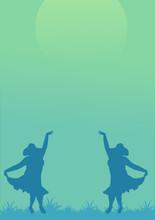 Silhouette Of Dancing Girls In...