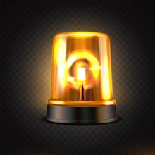 Realistic Orange Led Flasher. Orange Lights. Transparent Beacon For Emergency Situations.