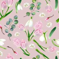 Fototapeta Inspiracje na wiosnę Watercolor floral seamless pattern with tulips flower, snowdrops and green eucalyptus leaves. Spring trendy design for fabric, paper, textile.