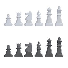 Set Of Black And White Chess P...