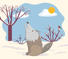 Winter Landscape With Animal G...
