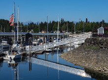 Pacific NW Puget Sound:  Kingston Marina Dock Ramp With Olympic Mountains In Background