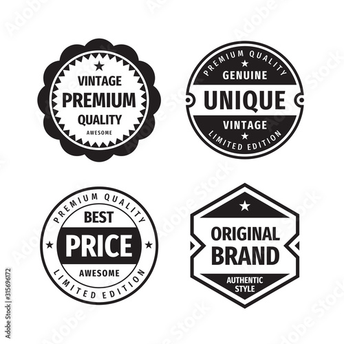 Obraz Business badges vector set in retro vintage design style. Abstract logo. Premium quality. Best price. Original brand. Genuine unigue vintage. Concept labels in black & white colors.  - fototapety do salonu