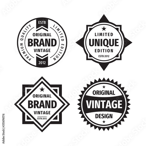 Business badges vector set in retro vintage design style Canvas Print