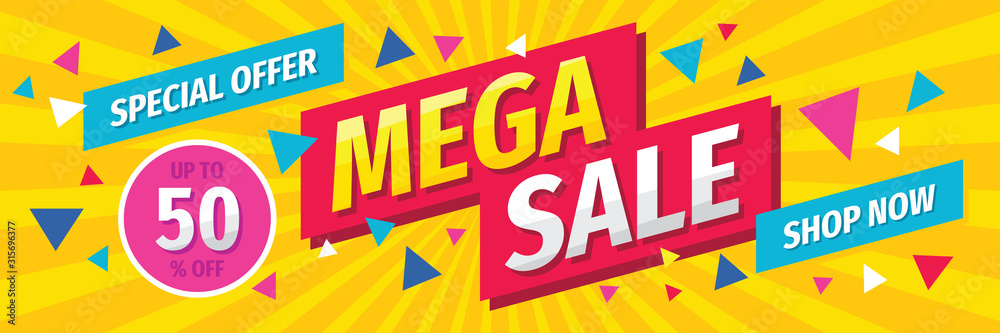 Fototapeta Mega sale concept horizontal banner template design. Discount abstract promotion layout poster. Mega sale vector illustration.