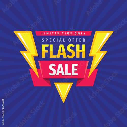 Obraz Flash sale - concept promotion banner template vector illustration. Discount special offer creative poster layout. Limited time only. Graphic design.  - fototapety do salonu