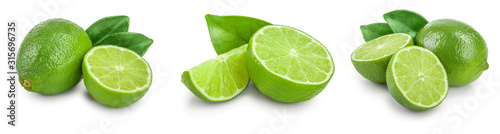 Valokuvatapetti lime with half and leaf isolated on white background