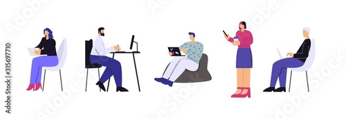 Fotografia People working with device set vector flat illustration
