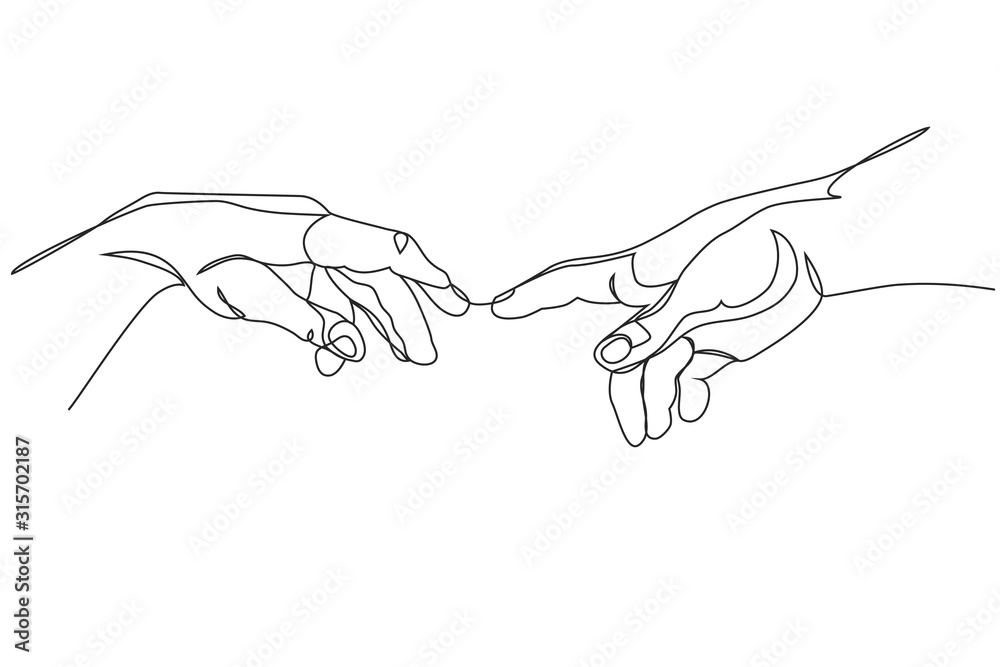 Fototapeta Adam and God hands one line drawing on white isolated background