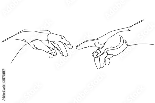 Fotografía Adam and God hands one line drawing on white isolated background