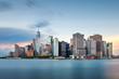 New York, New York, USA downtown city skyline at dusk on the harbor.