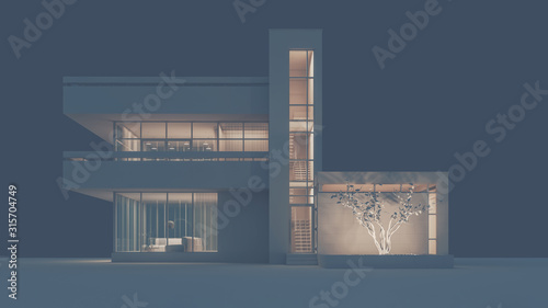 Fototapeta The project of a modern cottage house in white materials with night lighting and light from the wndows