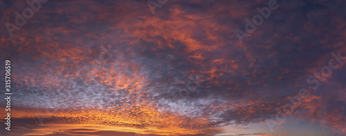 Obraz panorama of cloudscape at sunset with red clouds on sky - fototapety do salonu