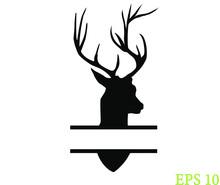 Deer Head, Deer Head Wreath Logo, Laurel Leaf Wreath, EPS 10