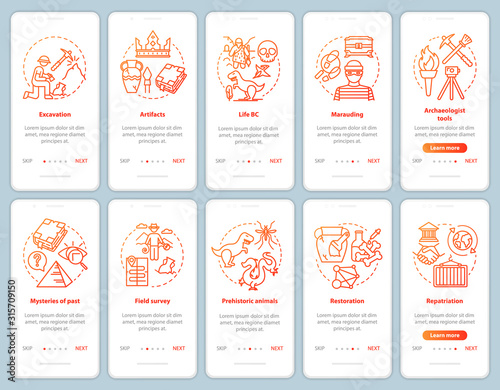 Archeology onboarding mobile app page screen vector template set Wallpaper Mural