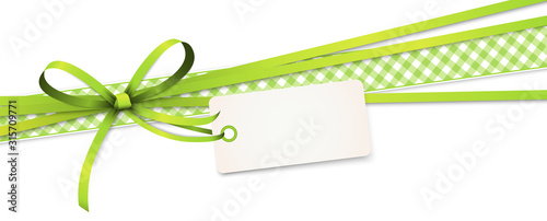 Fotografie, Obraz green colored ribbon bow with hang tag