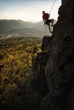 Man Climbing At Battert Rock, Baden-Baden, Germany