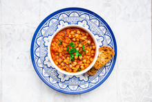 Lentil And Chickpea Soup (red Lentils, Chickpeas, Tomatoes, Red Onions, Mint)
