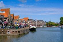 Netherlands, North Holland, Hoorn, Town Houses Along Shore Of Markermeer