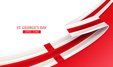 Happy St George Day, April 23rd, England National Day, Bent Waving Ribbon In Colors Of The England National Flag. Celebration Background.