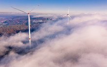 Aerial View Of Wind Turbines O...