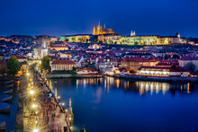 Czech Republic, Prague, Vltava River, Charles Bridge, Prague Castle And Surrounding Buildings At Night
