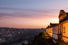 Portugal, Porto District, Vila Nova De Gaia, Monastery Of Serra Do Pilar At Dawn With Dom Luis I Bridge In Background