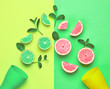 canvas print picture - Pink citrus fresh Fruit with mint leaves. Vegan organic food Concept. Creative citrus Layout. Flat lay. Trendy fashion Style. Minimal Art. Hot summer Vibes. Bright color.