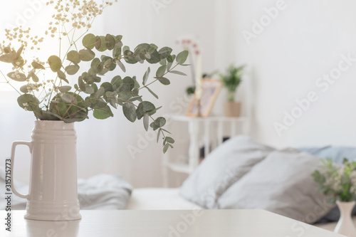 Photo eucalyptus and gypsophila  in jug  in white bedroom