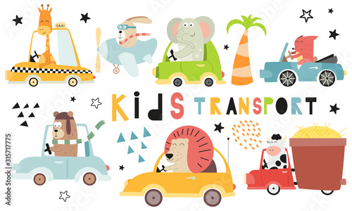 Kids transport collection with cute animals on white background. Hand drawn. Doodle cartoon cars for nursery posters, cards, t-shirts. Vector illustration. Car, taxi, cabriolet.