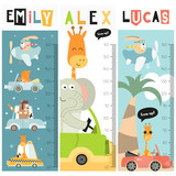 Fototapeta Fototapety na ścianę do pokoju dziecięcego - Kids height chart with kids transport and animals in doodle cartoon style. Vector Illustration. growth measure for nursery design. Great for girl and boy.