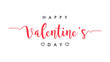 Happy Valentine's Day lettering black and pink text handwriting calligraphy isolated on white background. Greeting Card Vector Design