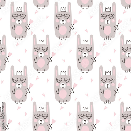 Fotografie, Obraz Seamless pattern with cute rabbit and heart. Vector