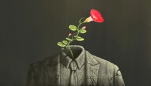 Surreal Red Flower Growing Up On Broken Suit Sculpture, Freedom Success Hope Concept