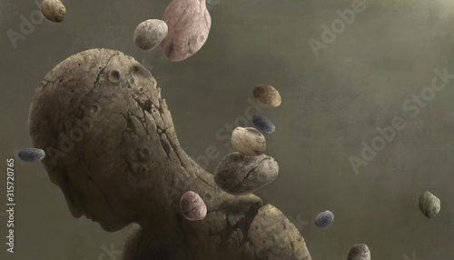 Broken human sculpture with floating rocks, digital painting Canvas-taulu
