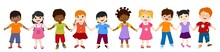Isolated Group Of Multiethnic Diverse Children Holding Hands. Diversity And Culture. Unity And Friendship. Community Of Children With Different Nationalities. Multicultural Kindergarten. Childhood