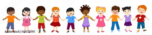 Isolated group of multiethnic diverse children holding hands. Diversity and culture. Unity and friendship. Community of children with different nationalities. Multicultural kindergarten. Childhood - 315721195