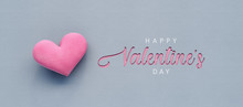 Happy Valentine's Day Background With Text And Pink Heart 3D Rendering