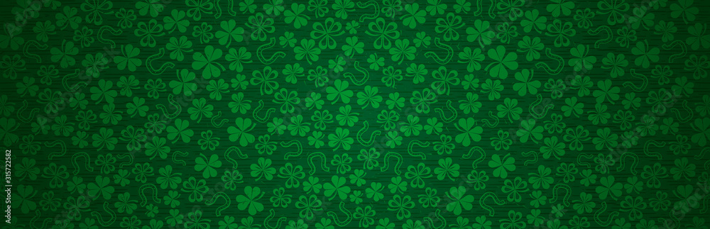 Green Patricks Day greeting banner with green clovers. Patrick's Day holiday design. Horizontal background, headers, posters, cards, website. Vector illustration